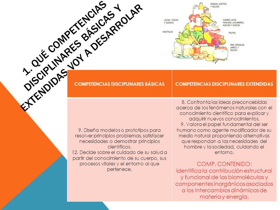 1. QUÉ COMPETENCIAS DISCIPLINARES BÁSICAS Y EXTENDIDAS VOY A DESARROLAR COMPETENCIAS DISCIPLINARES BÁSICASCOMPETENCIAS DISCIPLINARES EXTENDIDAS 9. Dis