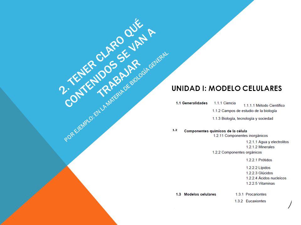 2. TENER CLARO QUÉ CONTENIDOS SE VAN A TRABAJAR POR EJEMPLO: EN LA MATERIA DE BIOLOGÍA GENERAL UNIDAD I: MODELO CELULARES 1.2