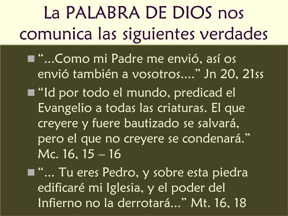 La PALABRA DE DIOS nos comunica las siguientes verdades...Como mi Padre me envió, así os envió también a vosotros.... Jn 20, 21ss Id por todo el mundo