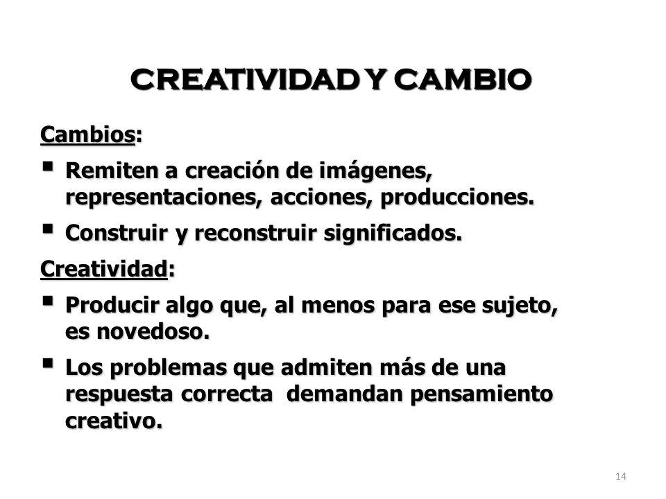14 CREATIVIDAD Y CAMBIO Cambios: Remiten a creación de imágenes, representaciones, acciones, producciones. Remiten a creación de imágenes, representac