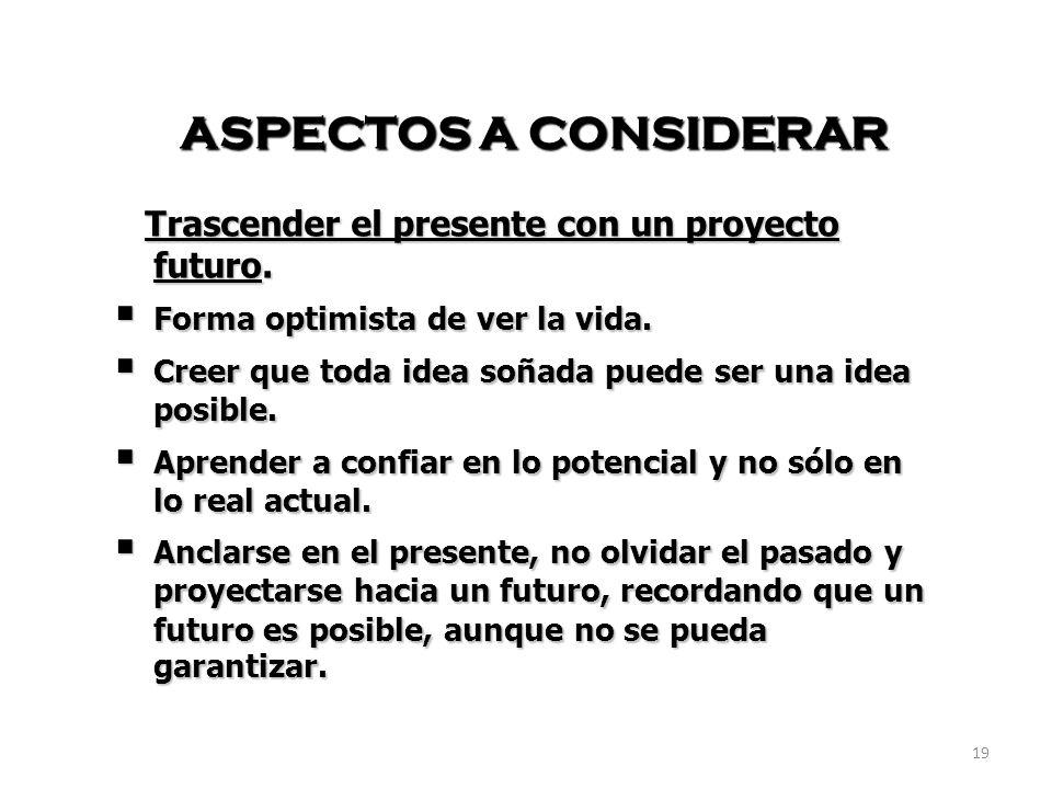 19 ASPECTOS A CONSIDERAR Trascender el presente con un proyecto futuro. Trascender el presente con un proyecto futuro. Forma optimista de ver la vida.