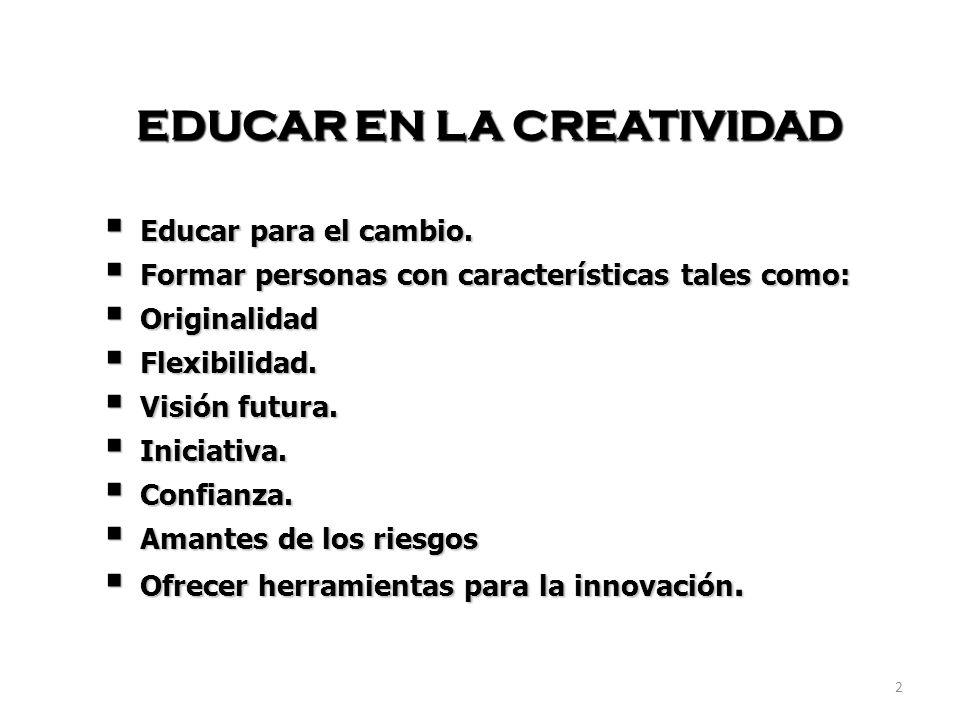 2 EDUCAR EN LA CREATIVIDAD Educar para el cambio. Educar para el cambio. Formar personas con características tales como: Formar personas con caracterí