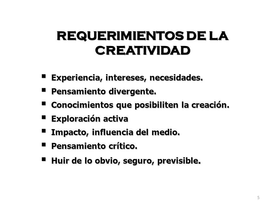 5 REQUERIMIENTOS DE LA CREATIVIDAD Experiencia, intereses, necesidades. Experiencia, intereses, necesidades. Pensamiento divergente. Pensamiento diver