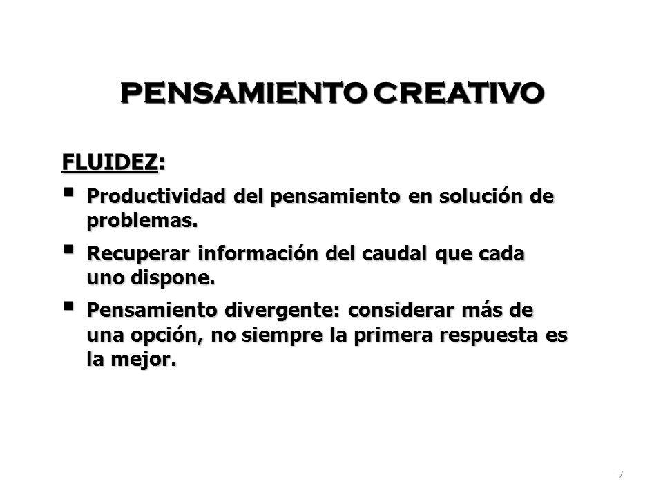 7 PENSAMIENTO CREATIVO FLUIDEZ: Productividad del pensamiento en solución de problemas.
