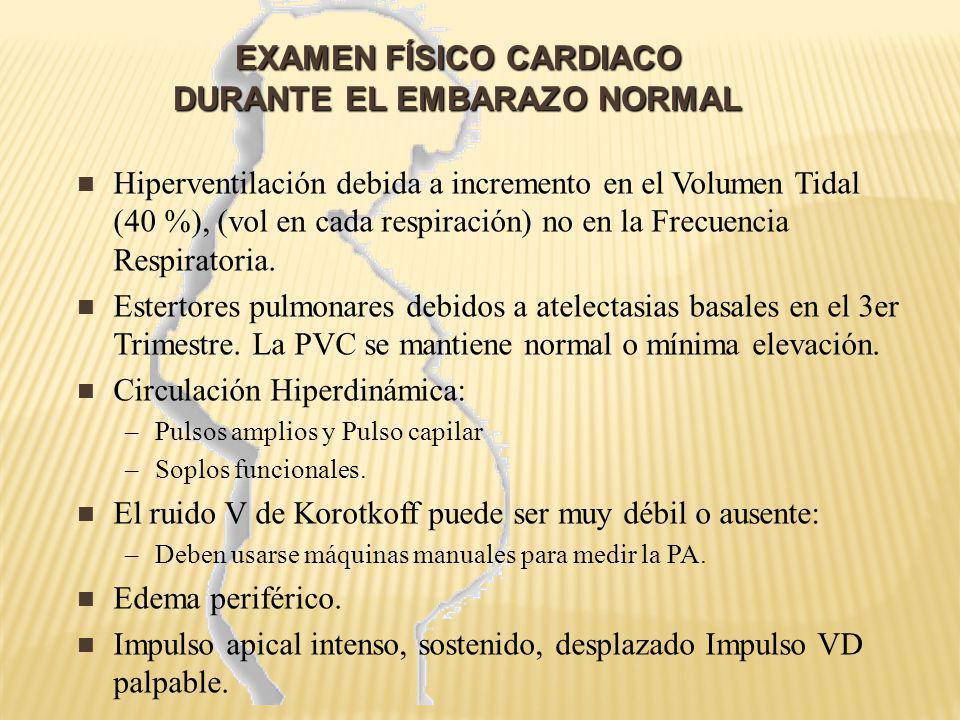 EXAMEN FÍSICO CARDIACO DURANTE EL EMBARAZO NORMAL EXAMEN FÍSICO CARDIACO DURANTE EL EMBARAZO NORMAL R1 con frecuencia ampliamente desdoblado y puede ser confundido con R4 R3 puede ocurrir normalmente y si es suave, intermitente y aislado, no requiere estudio Soplos Sistólicos: –Se encuentran en 96% de pacientes, todos grado 1-2 –Meso sistólicos, tipo eyectivos –Se auscultan mejor en el Borde para esternal izquierdo.