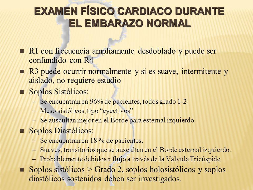 EXAMEN FÍSICO CARDIACO DURANTE EL EMBARAZO NORMAL EXAMEN FÍSICO CARDIACO DURANTE EL EMBARAZO NORMAL R1 con frecuencia ampliamente desdoblado y puede s