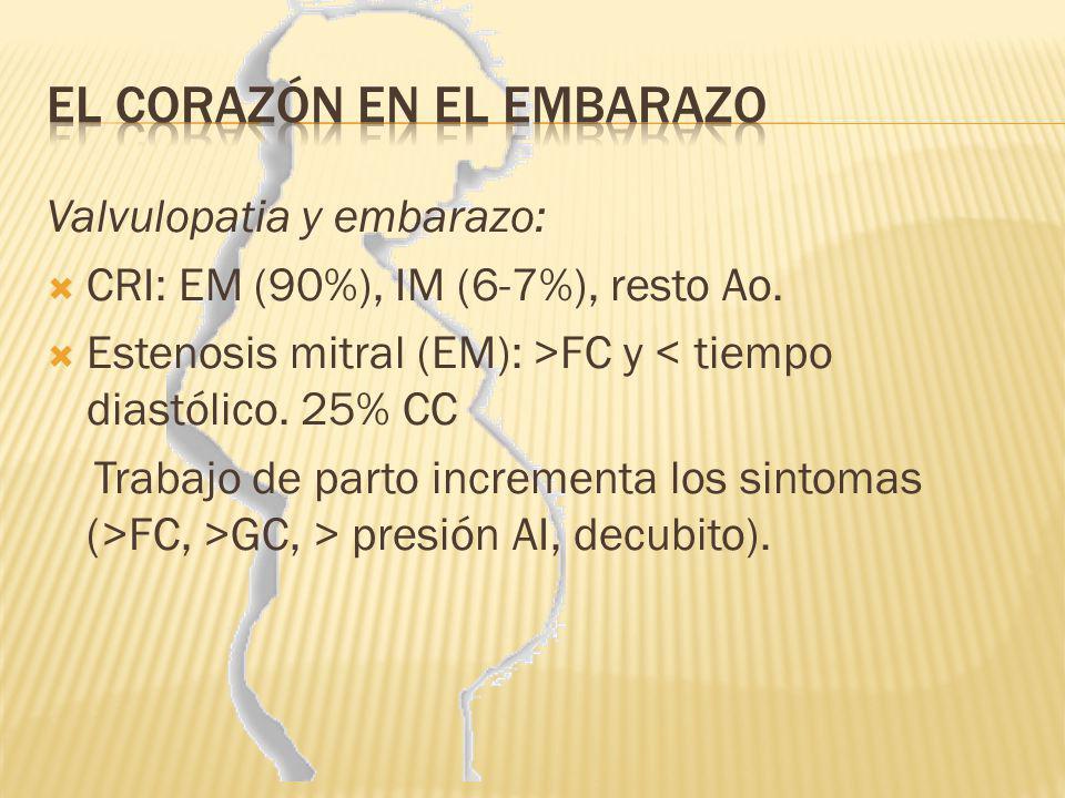 Valvulopatia y embarazo: CRI: EM (90%), IM (6-7%), resto Ao. Estenosis mitral (EM): >FC y < tiempo diastólico. 25% CC Trabajo de parto incrementa los