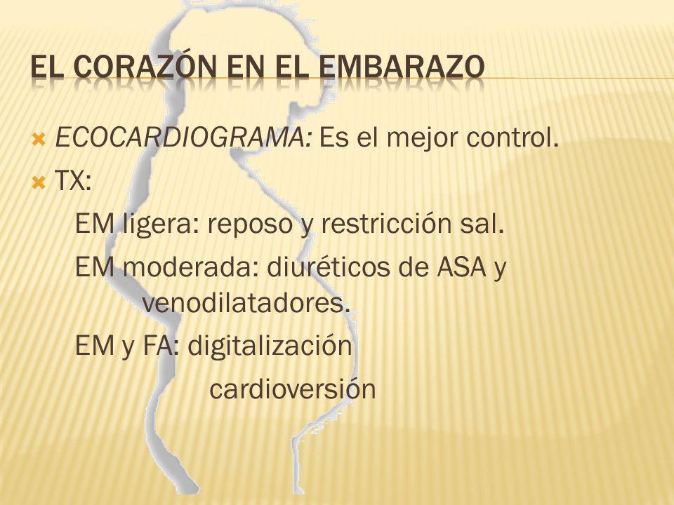ECOCARDIOGRAMA: Es el mejor control. TX: EM ligera: reposo y restricción sal. EM moderada: diuréticos de ASA y venodilatadores. EM y FA: digitalizació