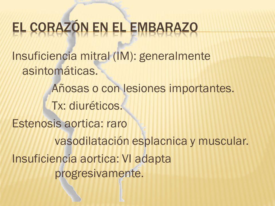 Insuficiencia mitral (IM): generalmente asintomáticas. Añosas o con lesiones importantes. Tx: diuréticos. Estenosis aortica: raro vasodilatación espla