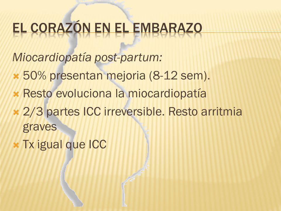 Miocardiopatía post-partum: 50% presentan mejoria (8-12 sem). Resto evoluciona la miocardiopatía 2/3 partes ICC irreversible. Resto arritmia graves Tx
