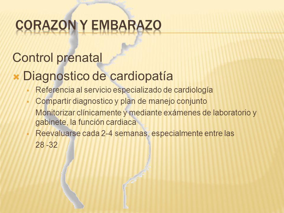 Control prenatal Diagnostico de cardiopatía Referencia al servicio especializado de cardiología Compartir diagnostico y plan de manejo conjunto Monito