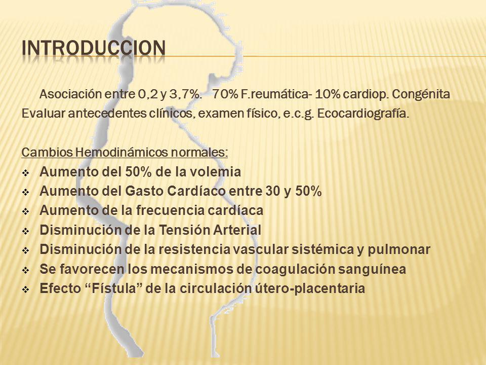 Asociación entre 0,2 y 3,7%. 70% F.reumática- 10% cardiop. Congénita Evaluar antecedentes clínicos, examen físico, e.c.g. Ecocardiografía. Cambios Hem