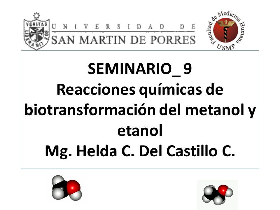 SEMINARIO_ 9 Reacciones químicas de biotransformación del metanol y etanol Mg. Helda C. Del Castillo C.
