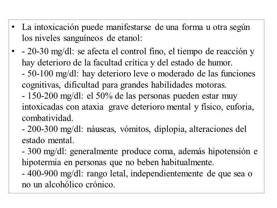 La intoxicación puede manifestarse de una forma u otra según los niveles sanguíneos de etanol: - 20-30 mg/dl: se afecta el control fino, el tiempo de