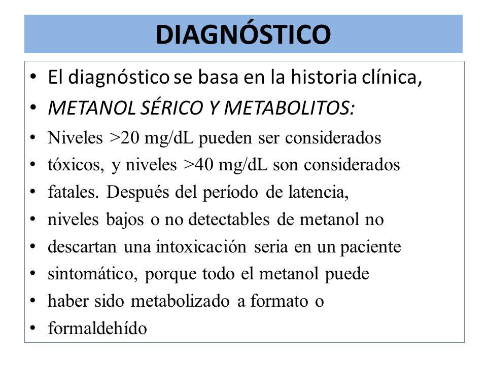 DIAGNÓSTICO El diagnóstico se basa en la historia clínica, METANOL SÉRICO Y METABOLITOS: Niveles >20 mg/dL pueden ser considerados tóxicos, y niveles
