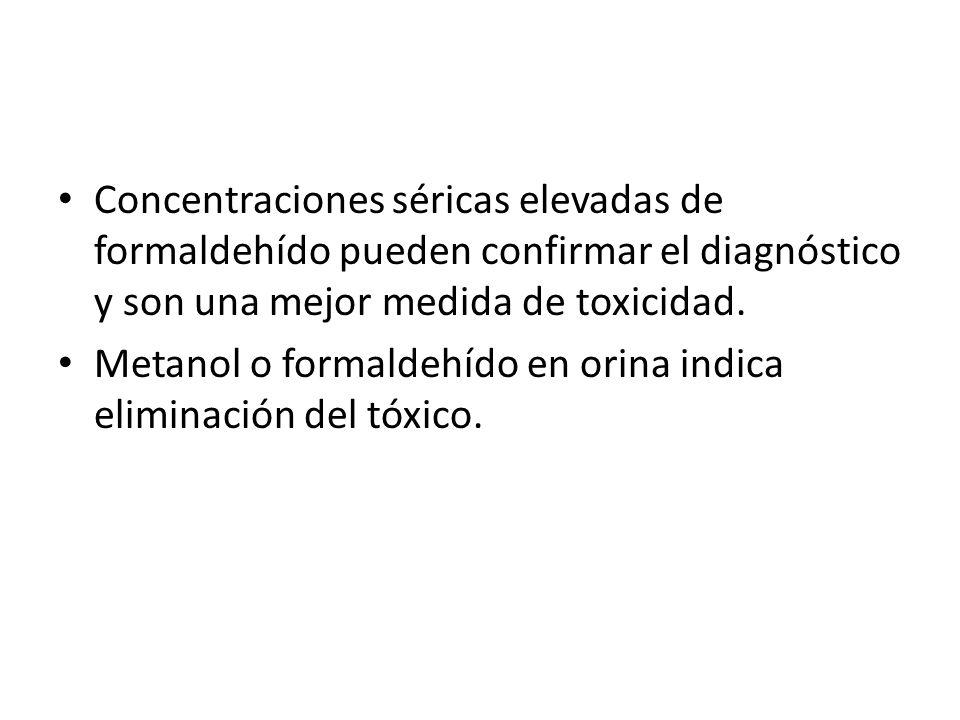Concentraciones séricas elevadas de formaldehído pueden confirmar el diagnóstico y son una mejor medida de toxicidad. Metanol o formaldehído en orina