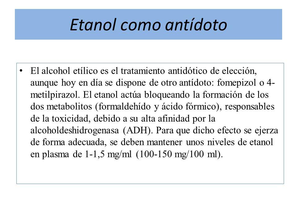 Etanol como antídoto El alcohol etílico es el tratamiento antidótico de elección, aunque hoy en día se dispone de otro antídoto: fomepizol o 4- metilp