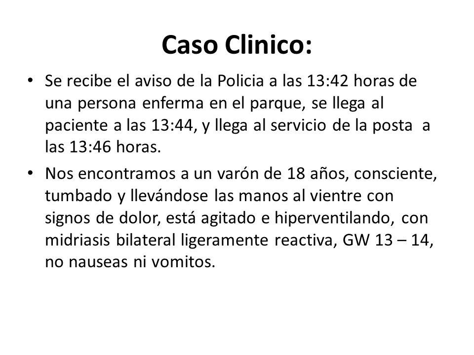 Caso Clinico: Se recibe el aviso de la Policia a las 13:42 horas de una persona enferma en el parque, se llega al paciente a las 13:44, y llega al ser