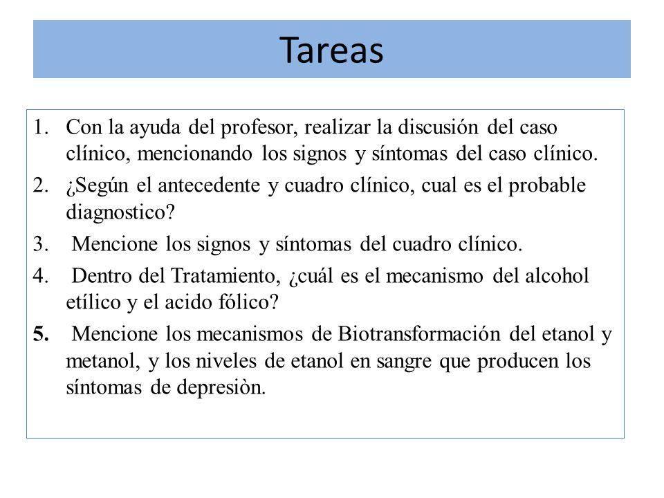 Tareas 1.Con la ayuda del profesor, realizar la discusión del caso clínico, mencionando los signos y síntomas del caso clínico. 2.¿Según el antecedent