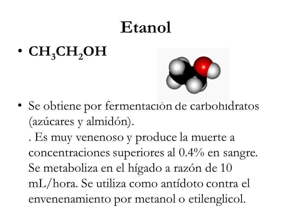 Propiedades físico-químicas del Etanol: Líquido incoloro, volátil, inflamable de olor agradable y sabor ardiente Soluble en agua Se disuelve mucho mejor en el agua que en los lípidos esta relación es aproximadamente de 30/1 Masa molecular: 46,07 g/mol Punto de ebullición: 78 ºC.Densidad: 0,789 g/ml