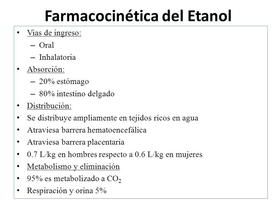 Farmacocinética del Etanol Vias de ingreso: – Oral – Inhalatoria Absorción: – 20% estómago – 80% intestino delgado Distribución: Se distribuye ampliam