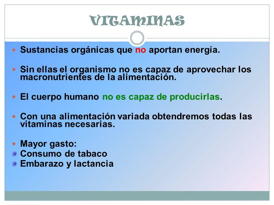VITAMINAS Sustancias orgánicas que no aportan energía.