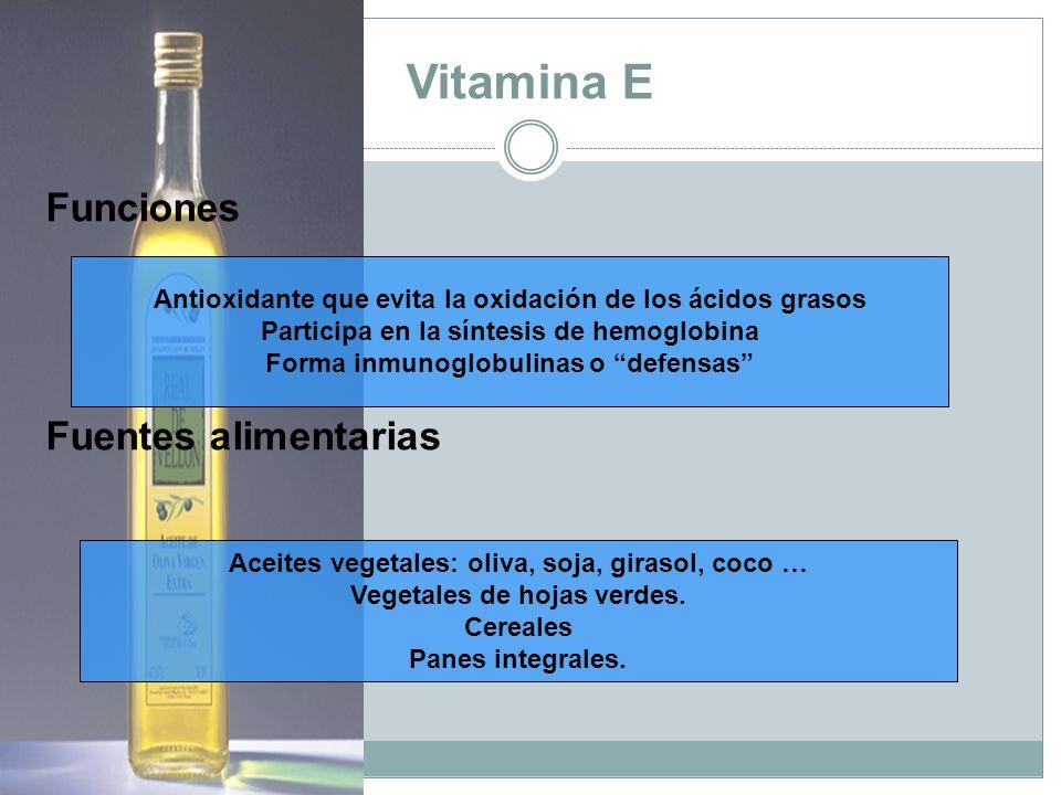 Vitamina E Funciones Fuentes alimentarias Antioxidante que evita la oxidación de los ácidos grasos Participa en la síntesis de hemoglobina Forma inmunoglobulinas o defensas Aceites vegetales: oliva, soja, girasol, coco … Vegetales de hojas verdes.