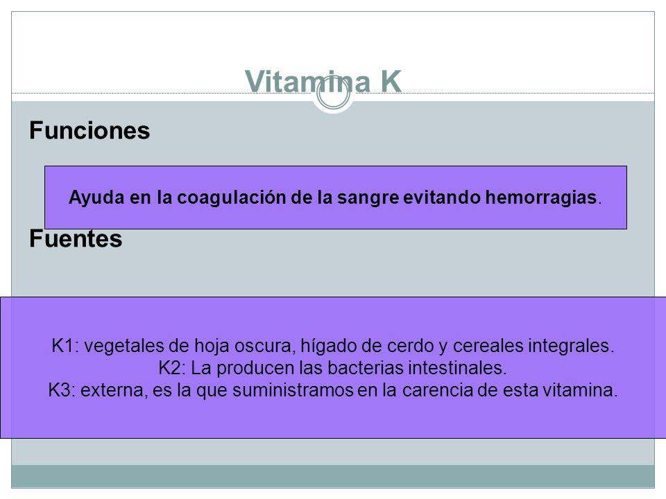 Vitamina K Funciones Fuentes Ayuda en la coagulación de la sangre evitando hemorragias.