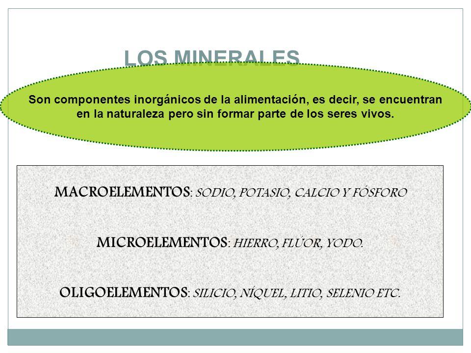 LOS MINERALES Son componentes inorgánicos de la alimentación, es decir, se encuentran en la naturaleza pero sin formar parte de los seres vivos.