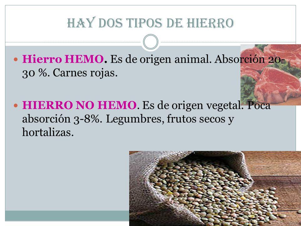 Hay dos tipos de hierro Hierro HEMO.Es de origen animal.