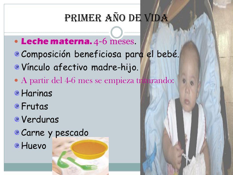Primer año de vida Leche materna.4-6 meses. Composición beneficiosa para el bebé.