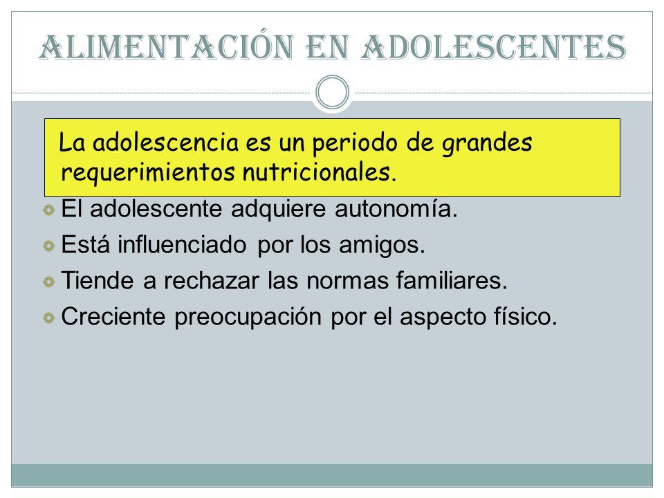 ALIMENTACIÓN EN ADOLESCENTES La adolescencia es un periodo de grandes requerimientos nutricionales.