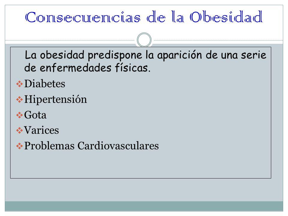 Consecuencias de la Obesidad La obesidad predispone la aparición de una serie de enfermedades físicas.