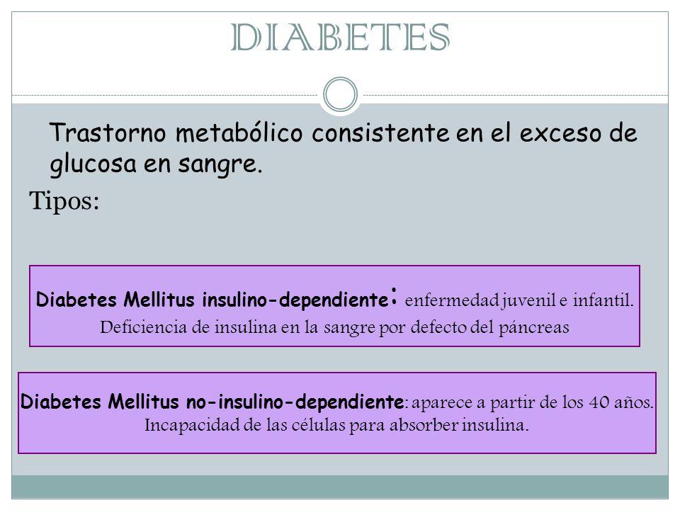 DIABETES Trastorno metabólico consistente en el exceso de glucosa en sangre.