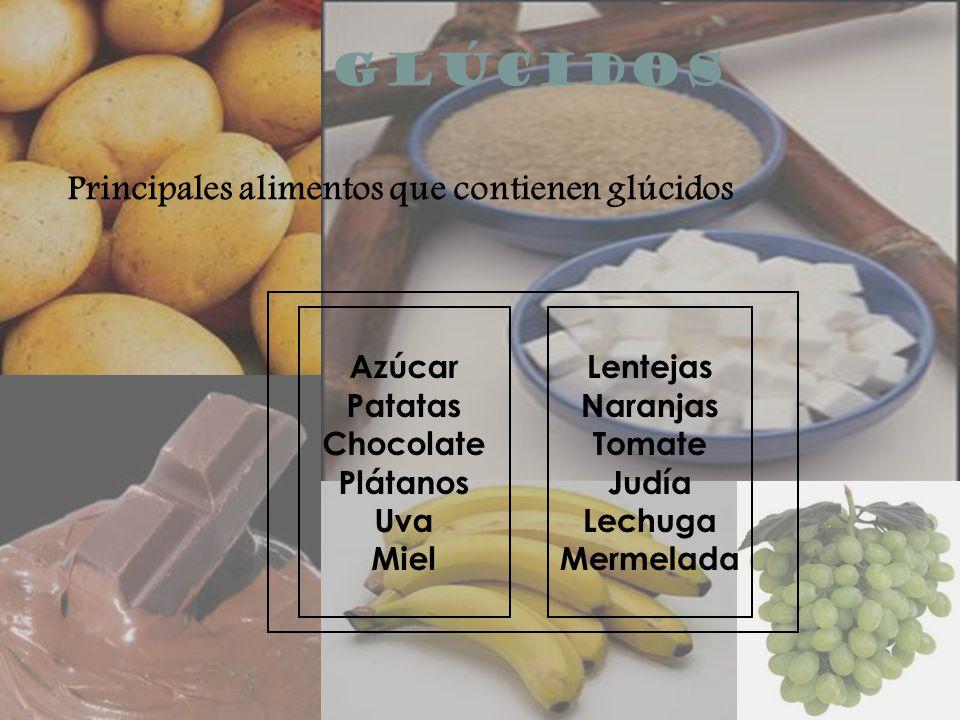 GLÚCIDOS Principales alimentos que contienen glúcidos Azúcar Patatas Chocolate Plátanos Uva Miel Lentejas Naranjas Tomate Judía Lechuga Mermelada
