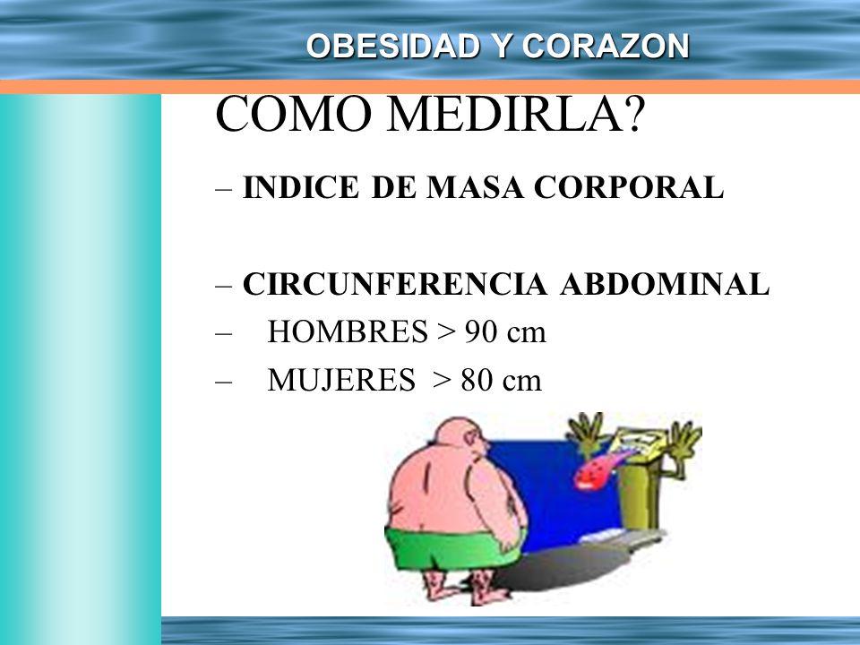 OBESIDAD Y CORAZON COMO MEDIRLA? –INDICE DE MASA CORPORAL –CIRCUNFERENCIA ABDOMINAL – HOMBRES > 90 cm – MUJERES > 80 cm
