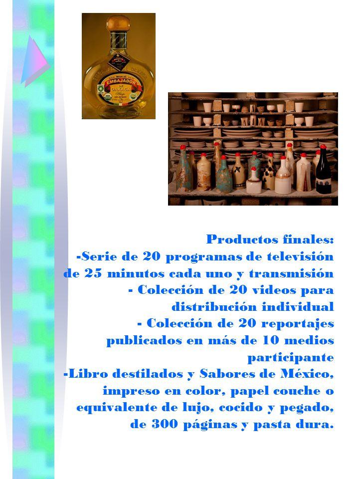 Productos finales: -Serie de 20 programas de televisión de 25 minutos cada uno y transmisión - Colección de 20 videos para distribución individual - C