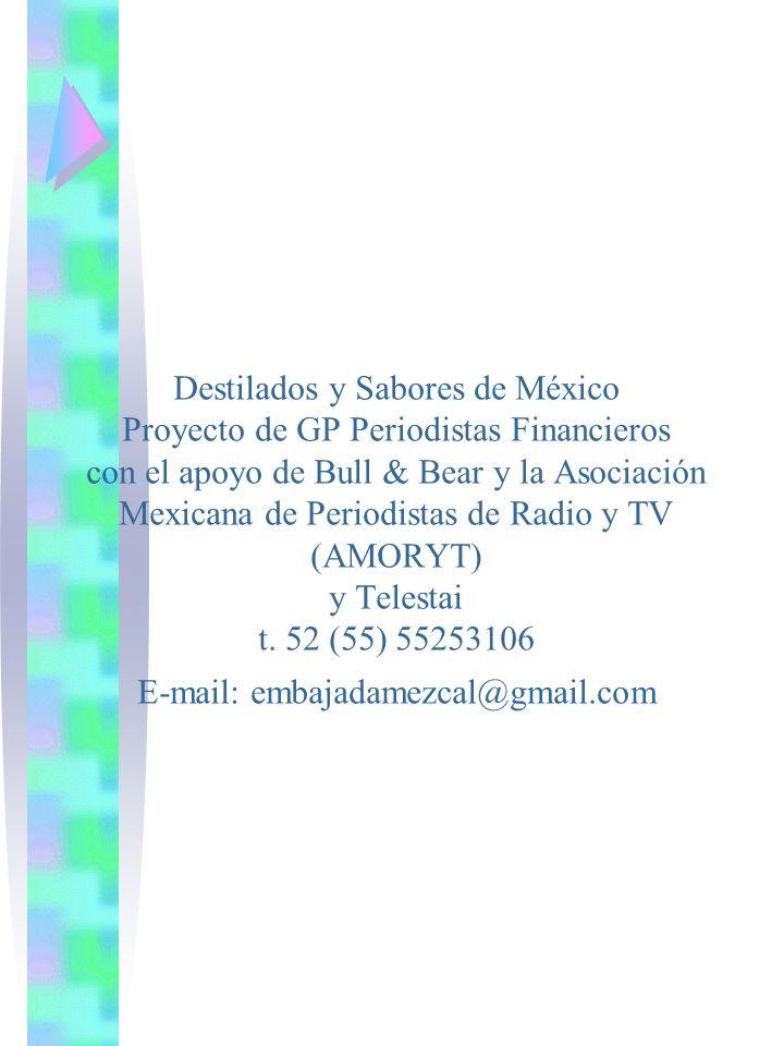 Destilados y Sabores de México Proyecto de GP Periodistas Financieros con el apoyo de Bull & Bear y la Asociación Mexicana de Periodistas de Radio y T