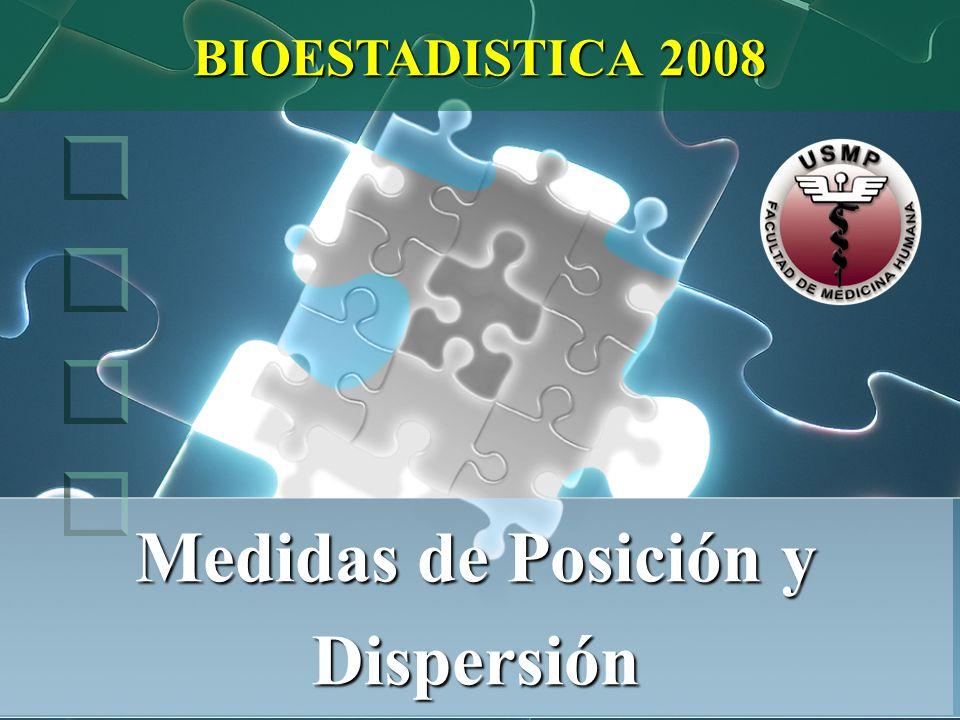 Medidas de Posición y Dispersión BIOESTADISTICA 2008