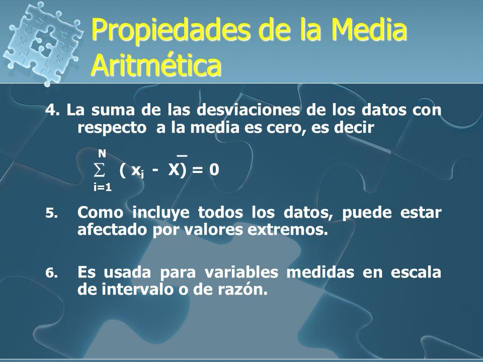 Propiedades de la Media Aritmética Propiedades de la Media Aritmética 1.Es única, puede ser un valor positivo, cero o un valor negativo. 2. Si a los v