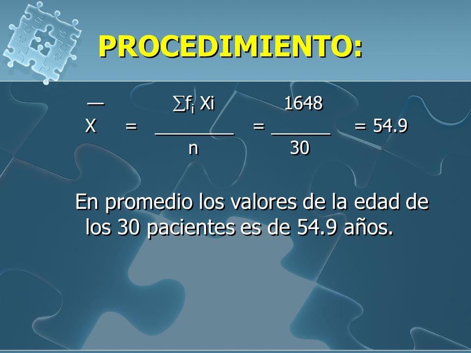 Ejemplo 2: A continuación se presenta las edades de 30 personas con cáncer pulmonar que pasan a consulta en el Hospital María Auxiliadora. Lima. Julio