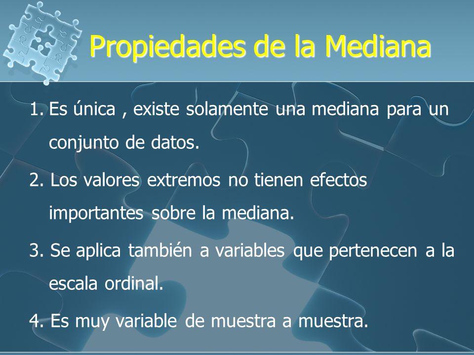 MEDIANA ( Me ) La mediana es un valor que divide a la distribución ordenada en forma ascendente o descendente en dos grupos iguales. 50% | 50% V. min.