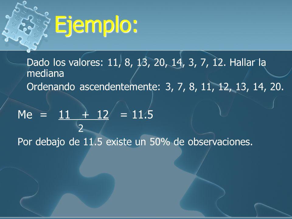 Propiedades de la Mediana Propiedades de la Mediana 1.Es única, existe solamente una mediana para un conjunto de datos. 2. Los valores extremos no tie