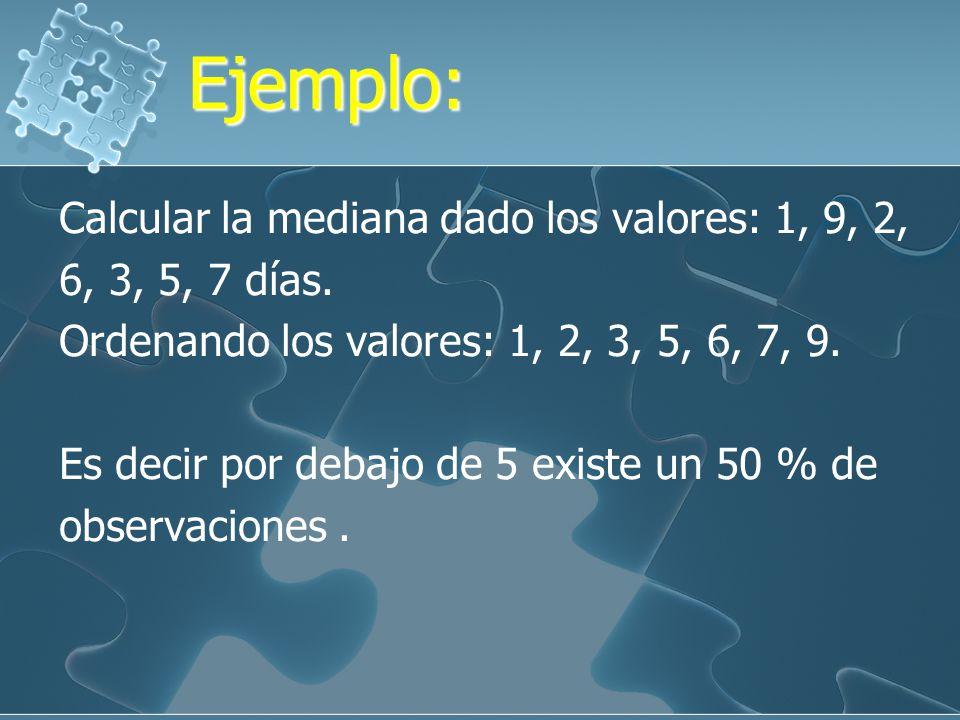 Ejemplo:Ejemplo: Dado los valores: 11, 8, 13, 20, 14, 3, 7, 12. Hallar la mediana Ordenando ascendentemente: 3, 7, 8, 11, 12, 13, 14, 20. Me = 11 + 12