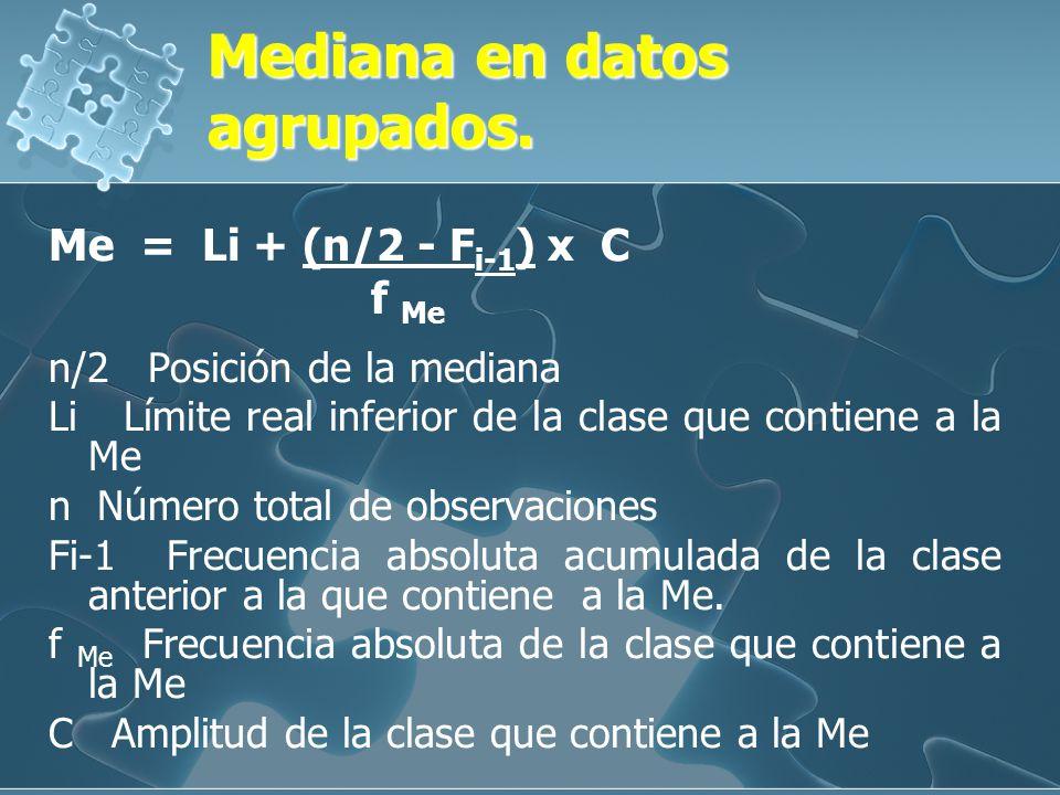 Ejemplo:Ejemplo: Calcular la mediana dado los valores: 1, 9, 2, 6, 3, 5, 7 días. Ordenando los valores: 1, 2, 3, 5, 6, 7, 9. Es decir por debajo de 5