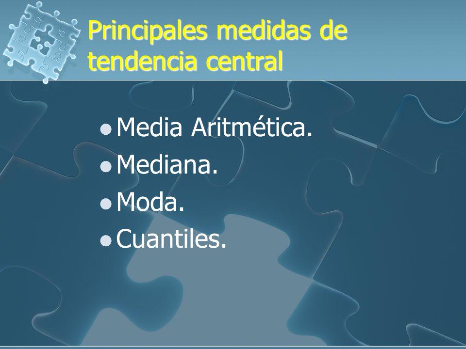 Principales medidas de tendencia central Media Aritmética.
