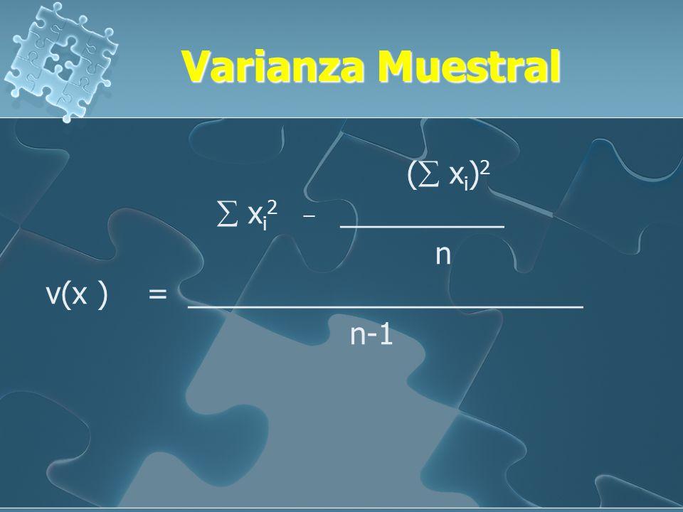 Varianza Poblacional ( Xi) 2 Xi 2 _ __________ N V( x ) = ________________________ N ( Xi) 2 Xi 2 _ __________ N V( x ) = ________________________ N