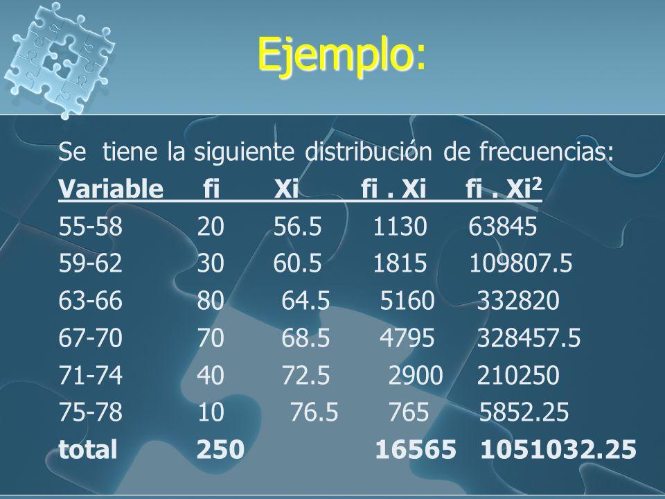EjemploEjemplo Consideremos los siguientes datos de una muestra : 4, 7, 8, 3, 5, 9, 10, 2. __ 4+7+8+....+ 2 X = ____________ = 6 8 (4-6) 2 + ( 7-6) 2