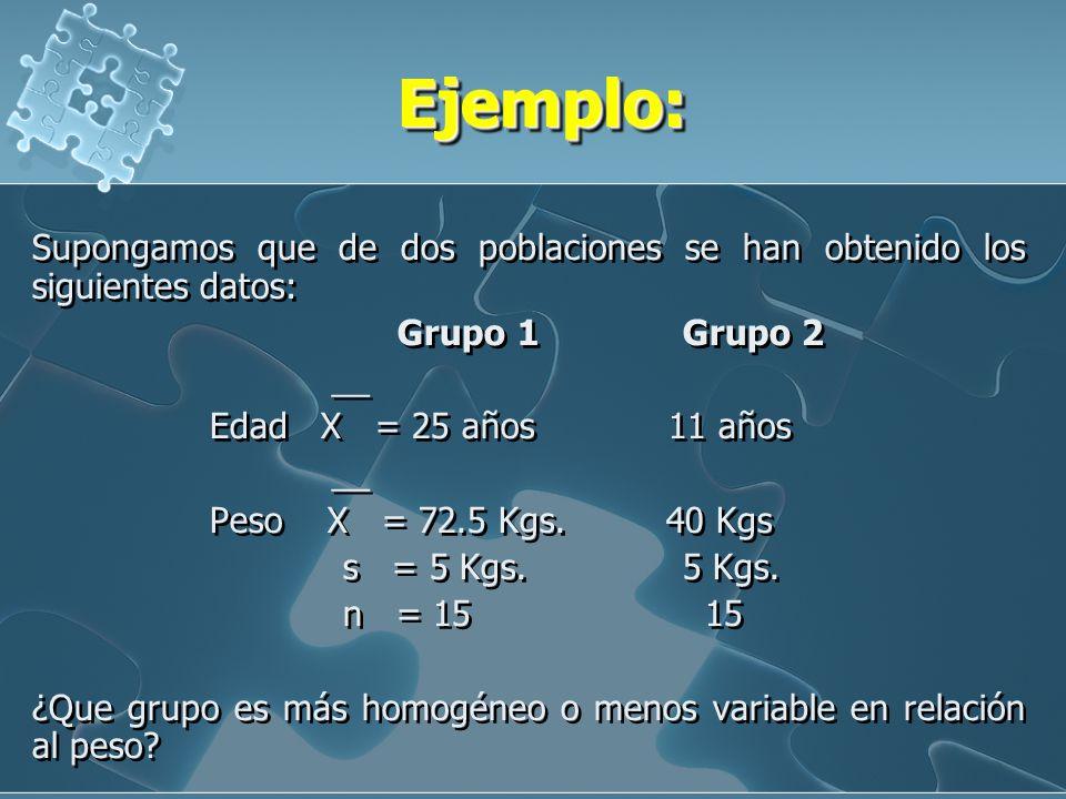 El coeficiente de variación Es una medida relativa de variabilidad de los datos entre la media y la desviación estándar de una población o muestra. Pe