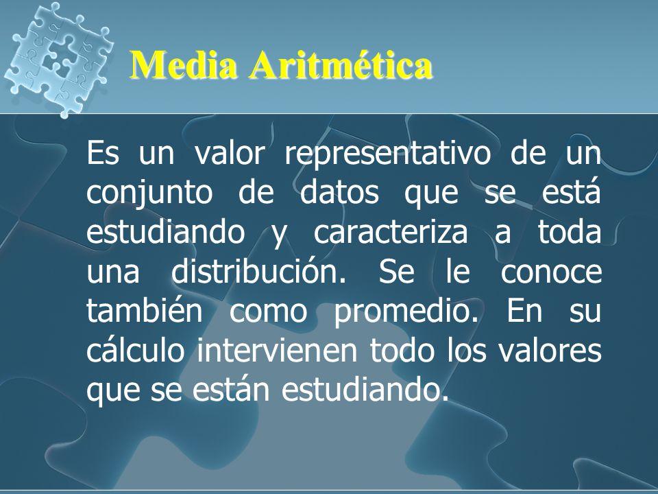 Media Aritmética Media Aritmética Es un valor representativo de un conjunto de datos que se está estudiando y caracteriza a toda una distribución.